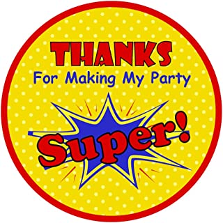 Thanks For Making My Party Super! |40 Super Pow Bam Birthday Round Circle Label | Fun Stickers for Gifts and Thank You Notes | Superhero Party Favors | Boys Birthday Party Favor Stickers (40 Pack)