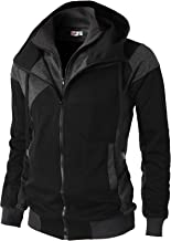 H2H Mens Casual Slim Fit Hoodie Active Zip-up Jackets with Pockets of Various Styles