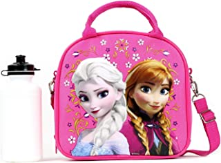 cc84643a4d0b Disney Frozen Lunch Box Carry Bag with Shoulder Strap and Water Bottle  (PINK).