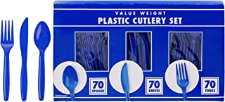 amscan Big Party Pack Window Box Cutlery Set   Bright Royal Blue   210 ct.   Party Supply