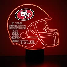 Mirror Magic Light Up LED Lamp - Football Helmet Night Light for Bedroom with Free Personalization - Features Licensed Decal and Remote (San Francisco 49ers)