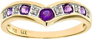 Naava 9 克拉黄金女士钻石和紫水晶戒指