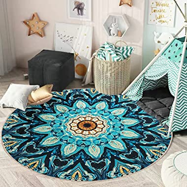GEVES Psychedelic Trippy Mandala Rugs Round Floor Mat Turquoise Carpets Floral Area Rug for Living Room Bedroom Bathroom Kitc