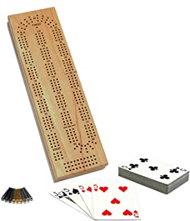 WE Games Cabinet Cribbage Set – Solid Wood Continuous 3 Track Board with Easy Grip..