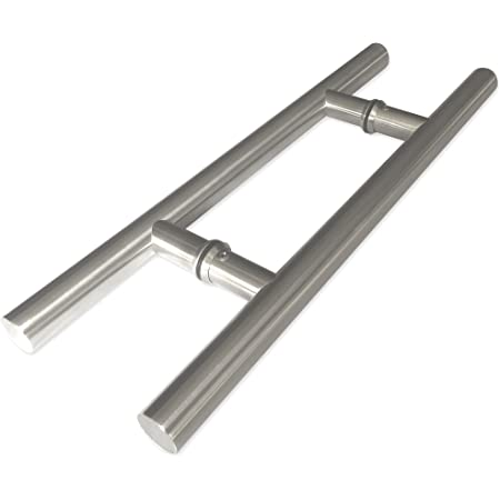 Modern & Contemporary Double-Sided Ladder Style Push-Pull Stainless Door Handle (16 inches/406mm) for Steel, Aluminum and Glass Doors, Brushed Stainless Steel Finish (16 inch, Satin Stainless Steel)