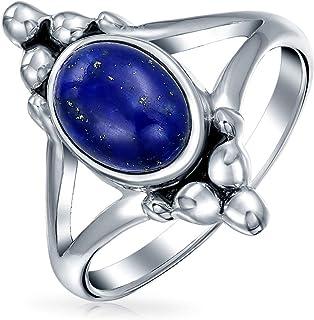 Boho Bali stile ovale dichiarazione blu lapis arcobaleno luna dell'anello per teen split Shank Band ossidato 925 Sterling ...