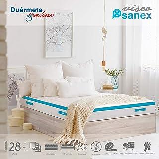 Duérmete Online Colchón Viscoelástico Visco SANEX Antibacterial   Alto Confort y Máxima Higiene   Altura 28 cm, Viscogel, 135x190