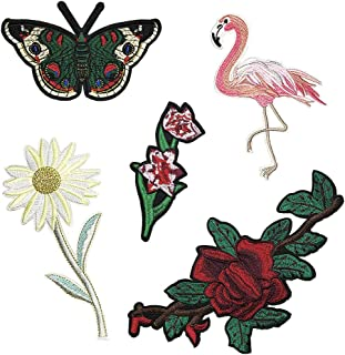 Juland 5 PCS Flower Bird Butterfly Embroidered Patches Self Adhesive Embroidered Custom Backpack Patches for Men, Women, Boys, Girls, Kids