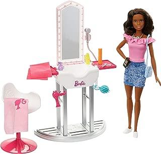Barbie Métiers Coffret Salon de Beauté et de coiffure avec poupée brune et accessoires inclus, jouet pour enfant, FJB37