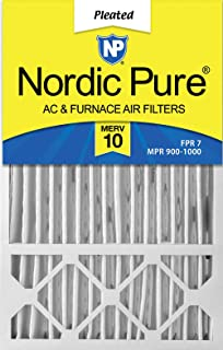 Nordic Pure 16x25x4/16x25x5 (4-3/8 Actual Depth) MERV 10 Honeywell FC100A1029 Replacement Pleated AC Furnace Air Filter, 2 Pack