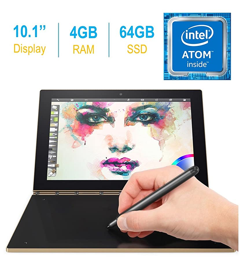 2017 Newest Lenovo Yoga Book 10.1-inch FHD Touch IPS 2-in-1 Tablet PC, Intel Atom x5-Z8550 1.44GHz, 4GB DDR3 RAM, 64GB SSD, Bluetooth, HD Graphics 400, Android 6.0.1 Marshmallow OS- Champagne Gold