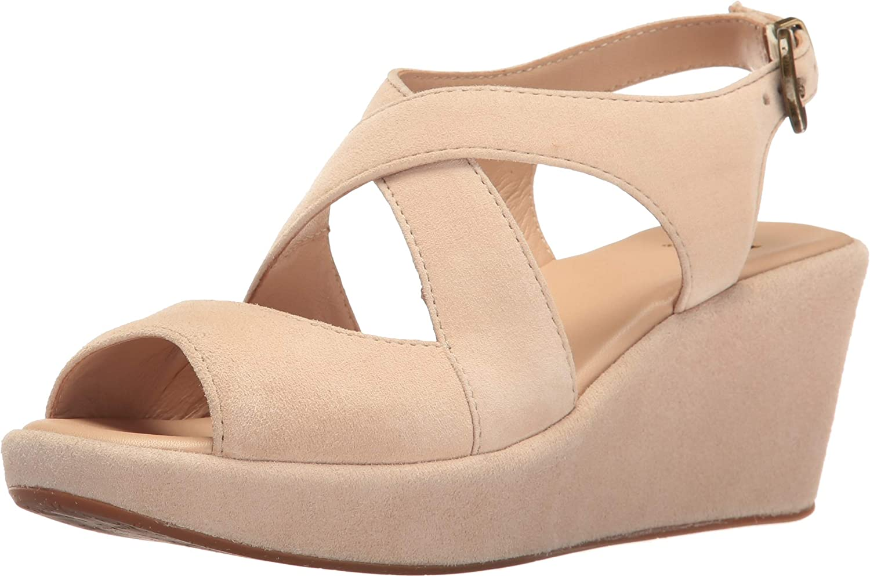 Johnston & Murphy Womens Dana Beige Wedge Sandal