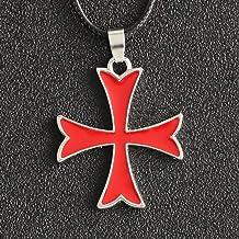 TUDUDU Assassins Odyssey Necklace Knight Templar Order Cross Christian Crusaders Enamel Pendant Movie Game Jewelry Colgante Size 3.6 * 3 Cm Longitud De Cadena 45 + 5Cm