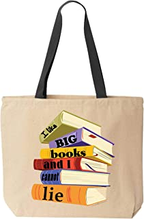 BeeGeeTees I Like Big Books And I Cannot Lie Funny Tote Bag Reusable Cotton Canvas
