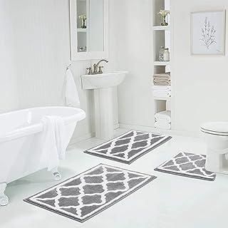 HEBE 3 Pieces Bathroom Rugs Set, Ultra Soft Non Slip and Absorbent Bath Rug Set, Washable Bathroom Rugs Plush Bath Mats fo...