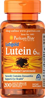 Puritans Pride Lutein 6 Mg with Zeaxanthin Softgels, 200 Count