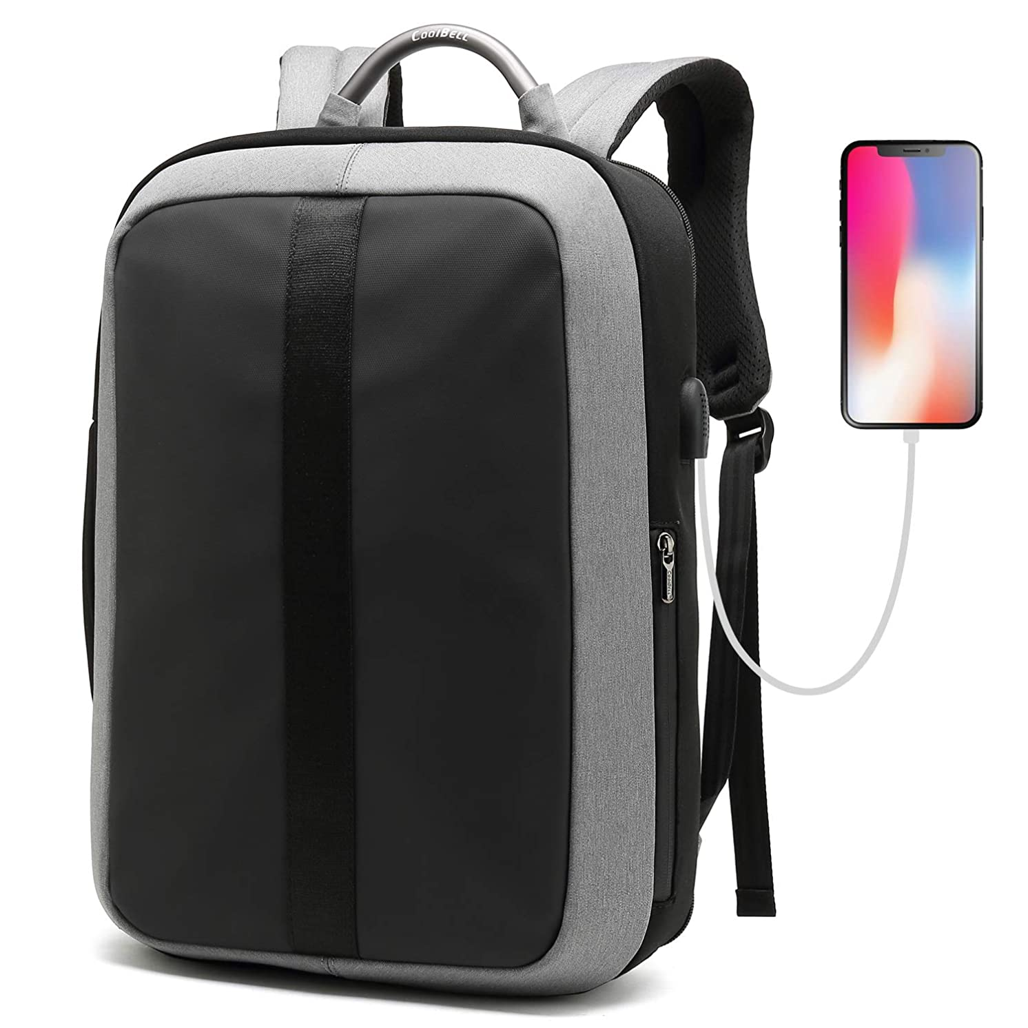 CoolBELL Laptop Backpack 15.6 Inch Anti-Theft Business Backpack Leisure Backpack Travel Rucksack with USB Charging Port for Men/Women (Grey)