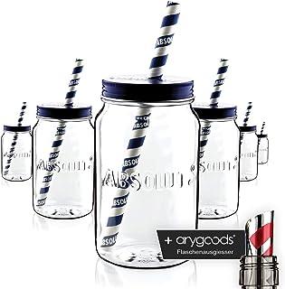 6 x calentamiento Cristal Vasos Jar Pajita acrílico con tapa Gastro Bar Decoración Nuevo + anygoods