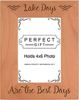 ThisWear Lake Frames Lake Days are The Best Days Photo Frame Wood Engraved 4x6 Portrait Picture Frame