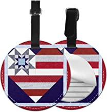 Love American Flag PU Leather Round Luggage Tags Suitcase Backpacks Labels Bag 1 piece