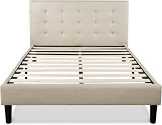 Zinus Ibidun Upholstered Button Tufted Platform Bed/ Mattress Foundation/ Easy Assembly/ Strong Wood Slat Support, Full