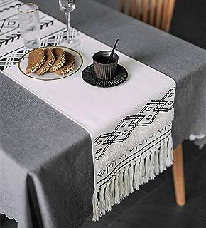 KIMODE Moroccan Fringe Table Runner, Bohemian Geometric Cotton Handmade Woven Tufted Tassels Dinning Table Linen Machine W...