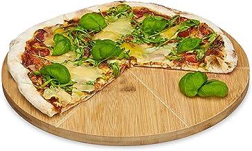 Relaxdays Pizzabord van bamboe, diameter 33 cm, snijplank van hout, snijbestendig pizzabrett met 6-voudige indeling voor g...
