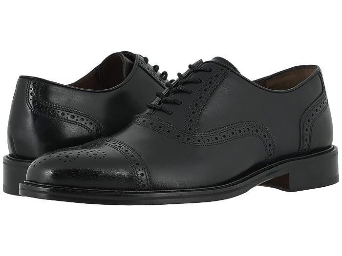 Johnston and Murphy  Daley Cap Toe (Black Full Grain) Mens Shoes