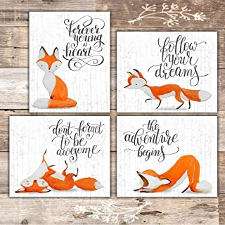 Fox Wall Art Prints (Set of 4) - Unframed - 8x10s | Woodland Nursery Decor