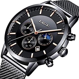 Watches Men Waterproof Analog Quartz Wristwatch Men Luxury Brand LIGE Stainless Steel Sport Clock Man Silver Black Business Dress Watch