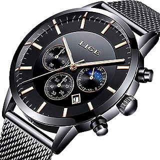 Watches Men Waterproof Analog Quartz Wristwatch Men Luxury Brand LIGE Stainless Steel Sport Clock Man Silver