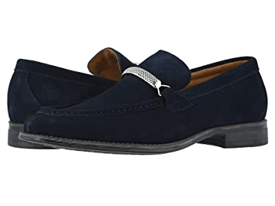 Stacy Adams Pasqual Moc Toe Bit Slip-On (Navy Suede) Men