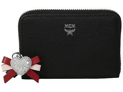 MCM Mina Heart Charm Zipped Card Wallet Mini (Black) Wallet Handbags