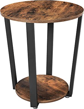 VASAGLE Industrial End Table, Metal Side Table, Round Sofa Table with Storage Rack, Stable and Sturdy Construction, Easy Asse