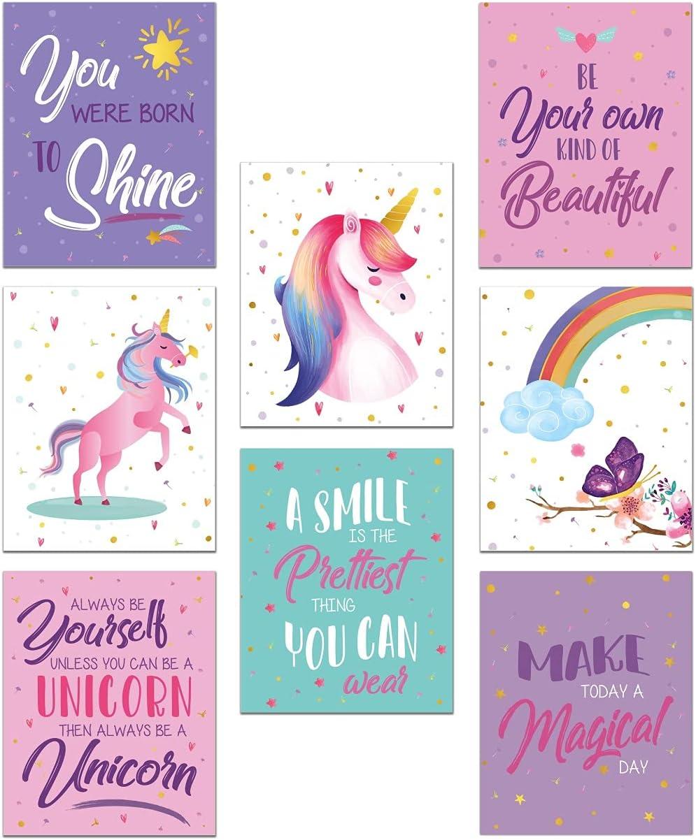 Unicorn Bedroom Decor for Girls, Unicorn Posters for Girls Room, Unicorn Room Decor for Girls Bedroom, Unicorn Pictures Wall Decor, Unicorn Wall Art, Set of 8 Girls Room Decor Prints 8x10