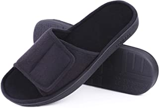 LongBay Men's Comfy Memory Foam Slide Slippers Breathable Micro Suede House Shoes
