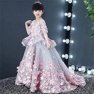 GFDGG クリスマスガールドレス子供フリルレースパーティーウェディングドレス用女の子クリスマスギフトパーティードレスプリンセスドレス (サイズ : 150cm)