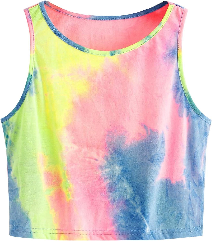 SweatyRocks Women's Tie Dye Sleeveless Cropped Workout Ta supreme Casual Trust