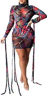 Sponsored Ad - Uni Clau Women's Sexy See Through Dress Sheer Mesh Printed Mini Bodycon Dress Clubwear Party Dresses