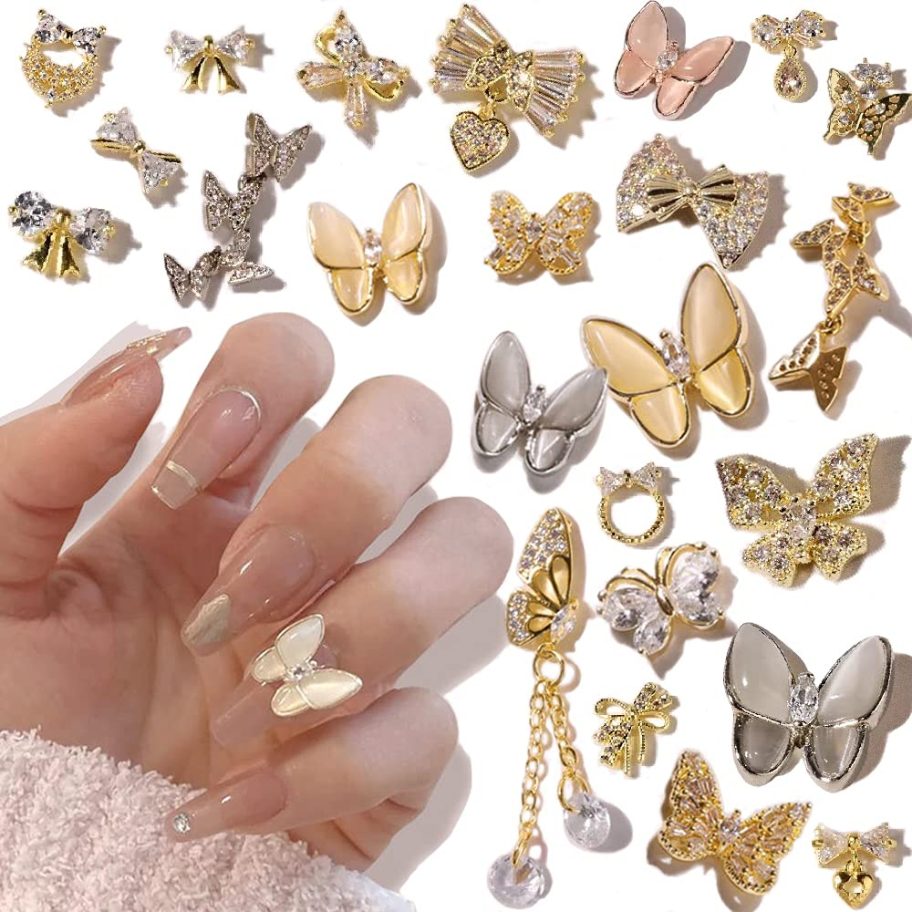 Bnhcoe 24 Milwaukee Mall Pcs 3D Butterfly Nail S Rhinestones Japan's largest assortment Art
