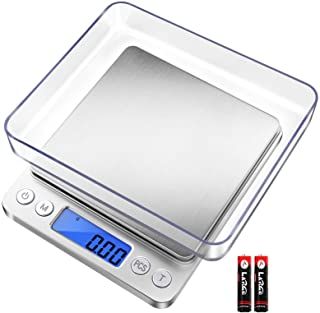 Fuzion Digital Pocket Kitchen Scale, 500g/0.01g Mini Jewelry Scale, Cooking Food Scale with LCD Backlit Display, 2 Trays, ...
