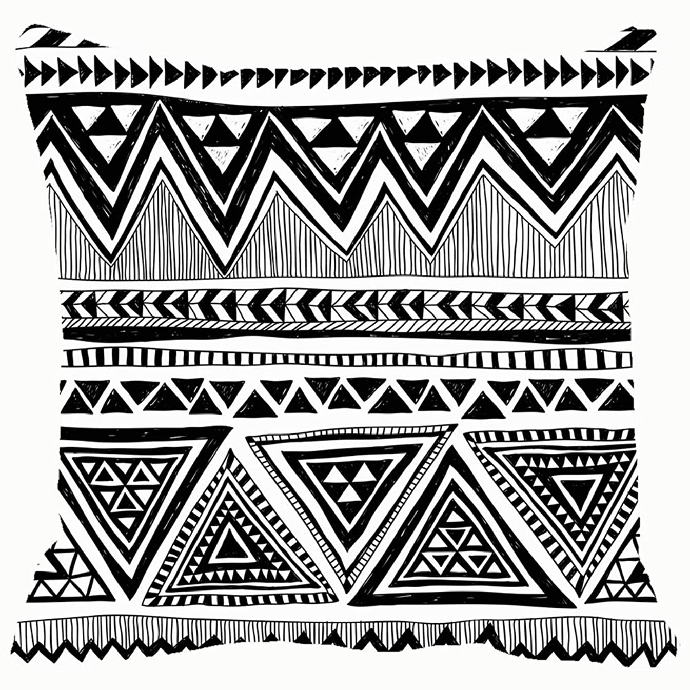 best bags Throw Pillow Cushion Cover, Black White Tribal Navajo African Decorative Square Accent Pillow Case, 18 X 18 Inch