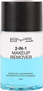 BYS 2-In-1 Makeup Remover - Instantly Dissolve Longwearing and Waterproof Eye and Lip Makeup, Paraben Free, 45Ml dual action formula consists of both water and oil working together to remove makeup