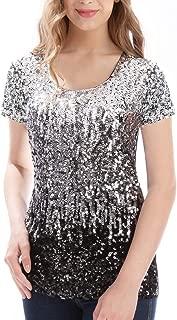 Women's Full Sequin Tops Glitter Party Shirt Short Sleeve Sparkle Blouses S-3X