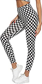 WDIRARA Women's High Waisted Sporty Capris Skinny Plaid Yoga Leggings
