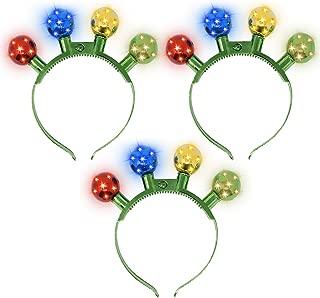 JOYIN 3 Pcs Fun and Festive Christmas Disco Flashing LED Light Bulb Headband for Christmas Accessories Party Favor