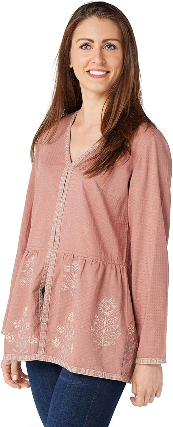 Logo Lavish by Lori Goldstein Womens Woven Embroidery Cardigan S Pink A369082