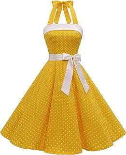 Timormode Abito Vintage Donne Vestito Cocktail 1950 Gonna retrò Estiva Rockabilly Allacciatura al Collo di Polka Dots Molt...