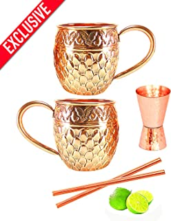 Moscow Mule Copper Mugs - Set of 2-100% PURE COPPER HANDCRAFTED - Food Safe Pure Solid Copper Mugs - 16 oz Gift Set with BONUS: Highest Quality Cocktail Copper Straws and Jigger! (embossed)