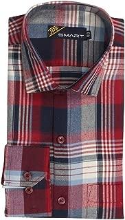 JPF Smart Men's Cotton Regular Fit Formal Shirt for Men Casual Full Sleeves Shirt for Men/Cotton Checkered Short Sleeve Shirts for Men Red & Black Checked Shirts boy